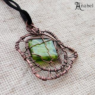купить приобрести медные украшения кулоны из меди  анабель anabel annabel с зеленым стеклом