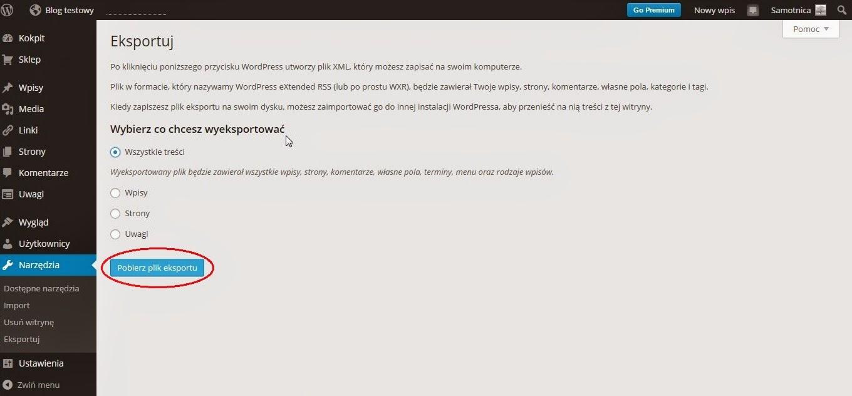 Wordpress - Pobierz plik eksportu