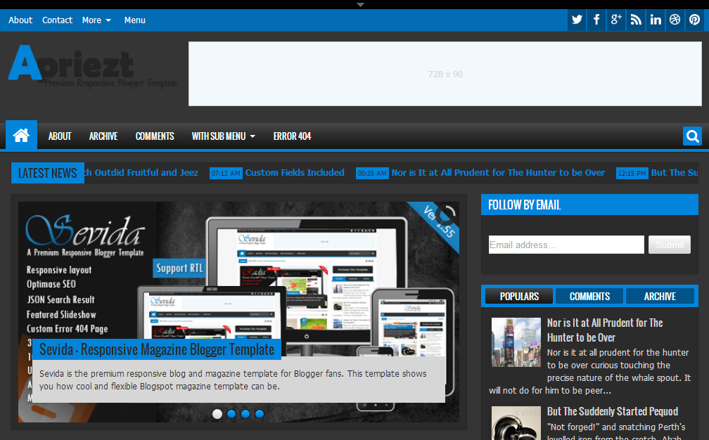item apriezt responsive magazinenews blogger theme