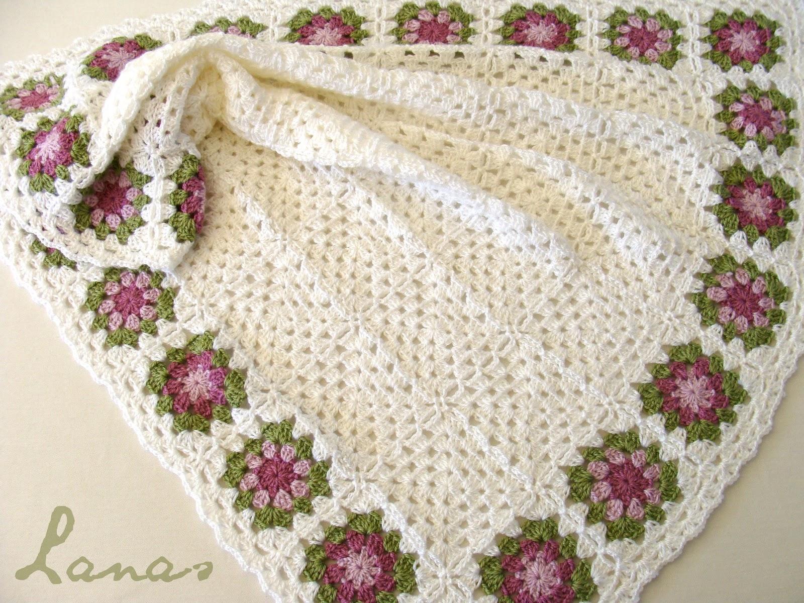 Crochet Flower Granny Square Blanket Pattern : Lanas Hilos: GIFT SET: Flower Border Blanket