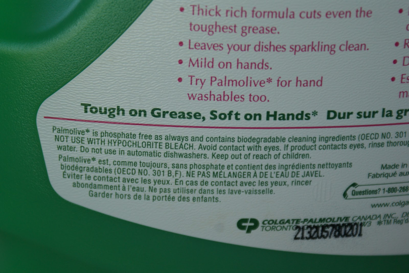 What are the ingredients of Palmolive dish soap?