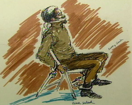 Courtroom sketch of  Bobby Seale bound and gagged