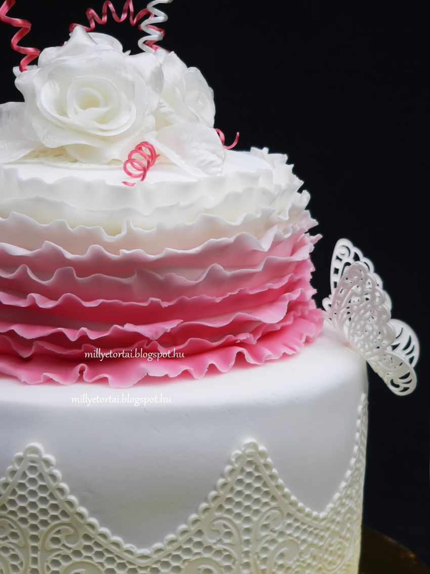 Sugar lace cake, pulled sugar flowers