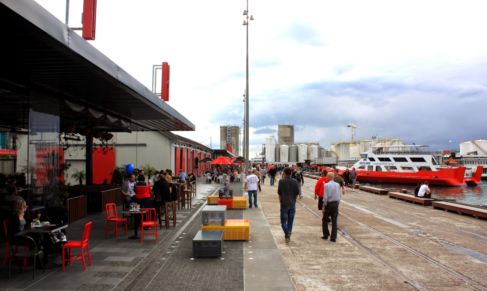 Walking along North Wharf, Auckland