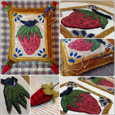 'A Crow's Feast' Punch Needle Pattern from Rose Clay at ThreeSheepStudio.com
