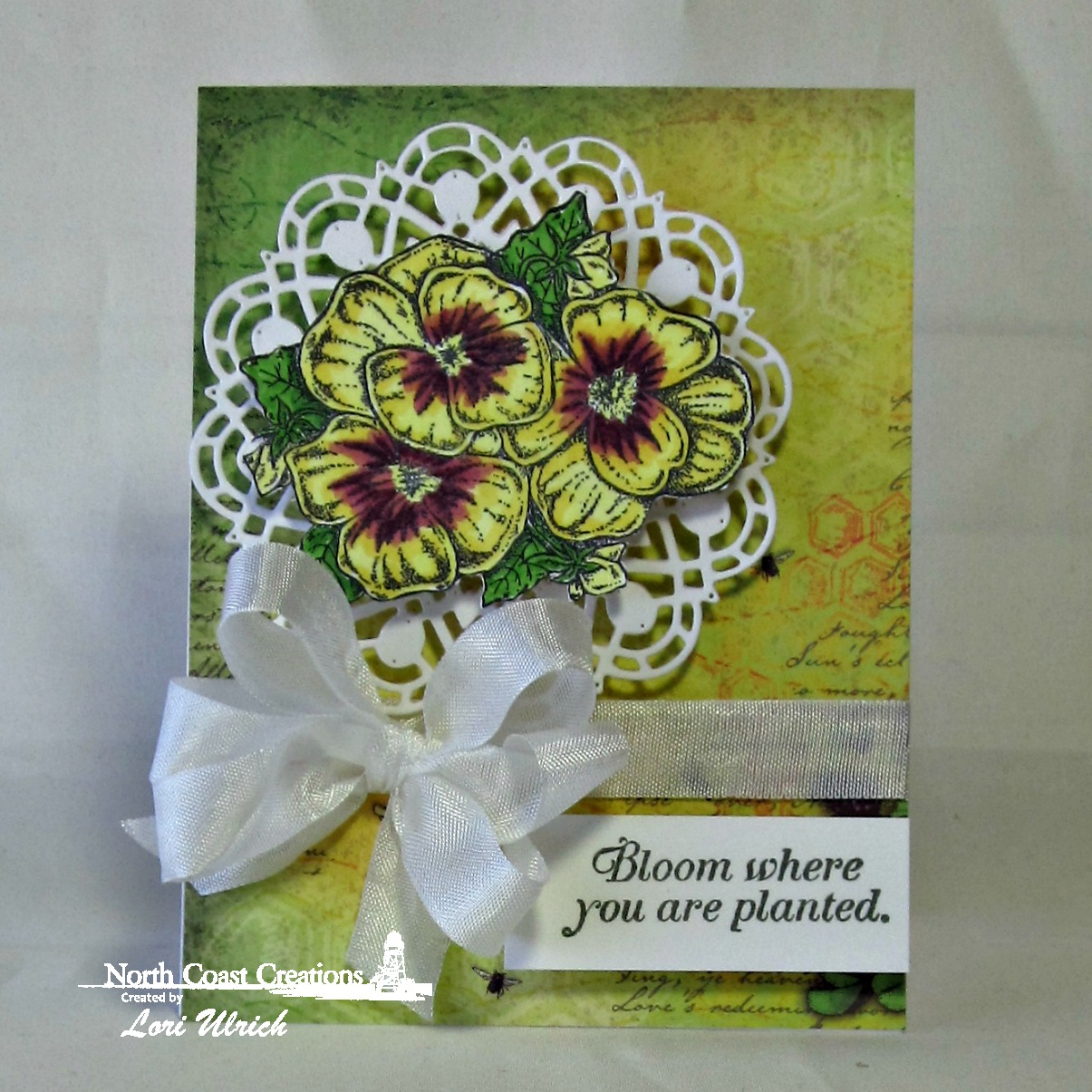 Stamps - North Coast Creations Pansies, ODBD Custom Doily Dies, ODBD Blooming Garden Paper Collection