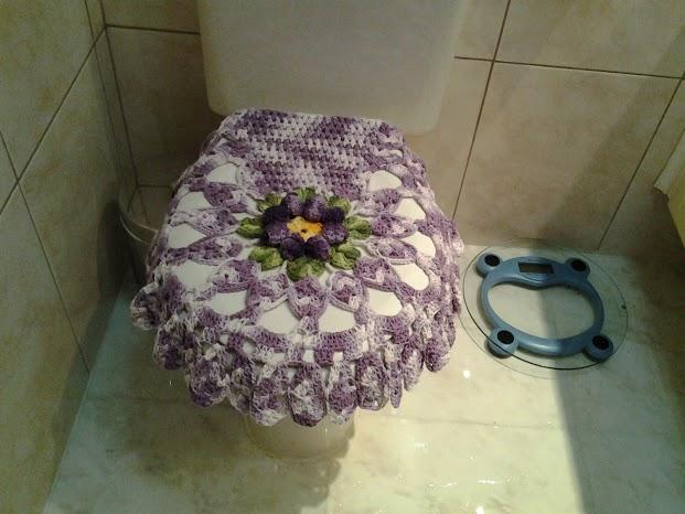 Tapete Floral Para Banheiro : Tapetesa: Jogo de tapetes de croch? para banheiro com flor rococ?