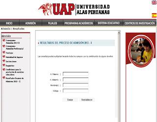 Relación Ingresantes examen UAP 2014-2 Universidad Alas Peruanas LIMA, sábado 30 de Agosto
