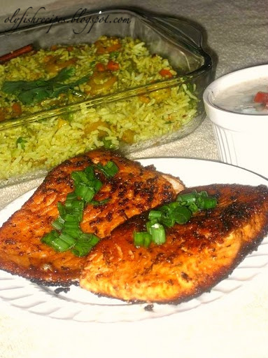 prawn pulao and tawa fish fry