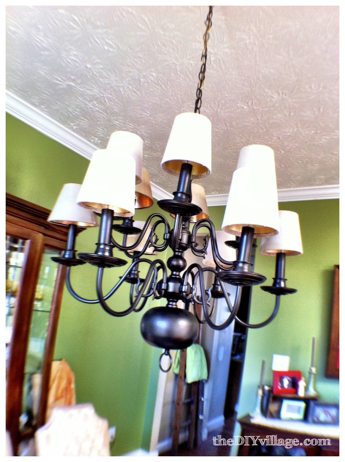 Up cycled chandelier the diy village then it was time to figure out how to hang the large entrance chandelier aloadofball Choice Image