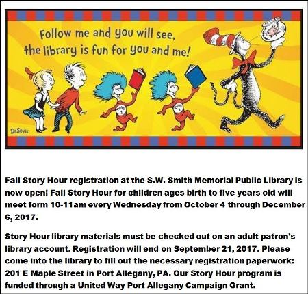 Every Wednesday thru 12-6 Fall Story Hour