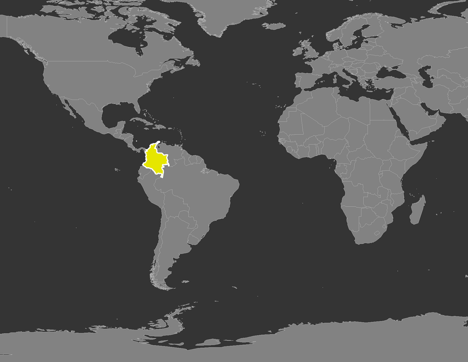 World Map Colombia