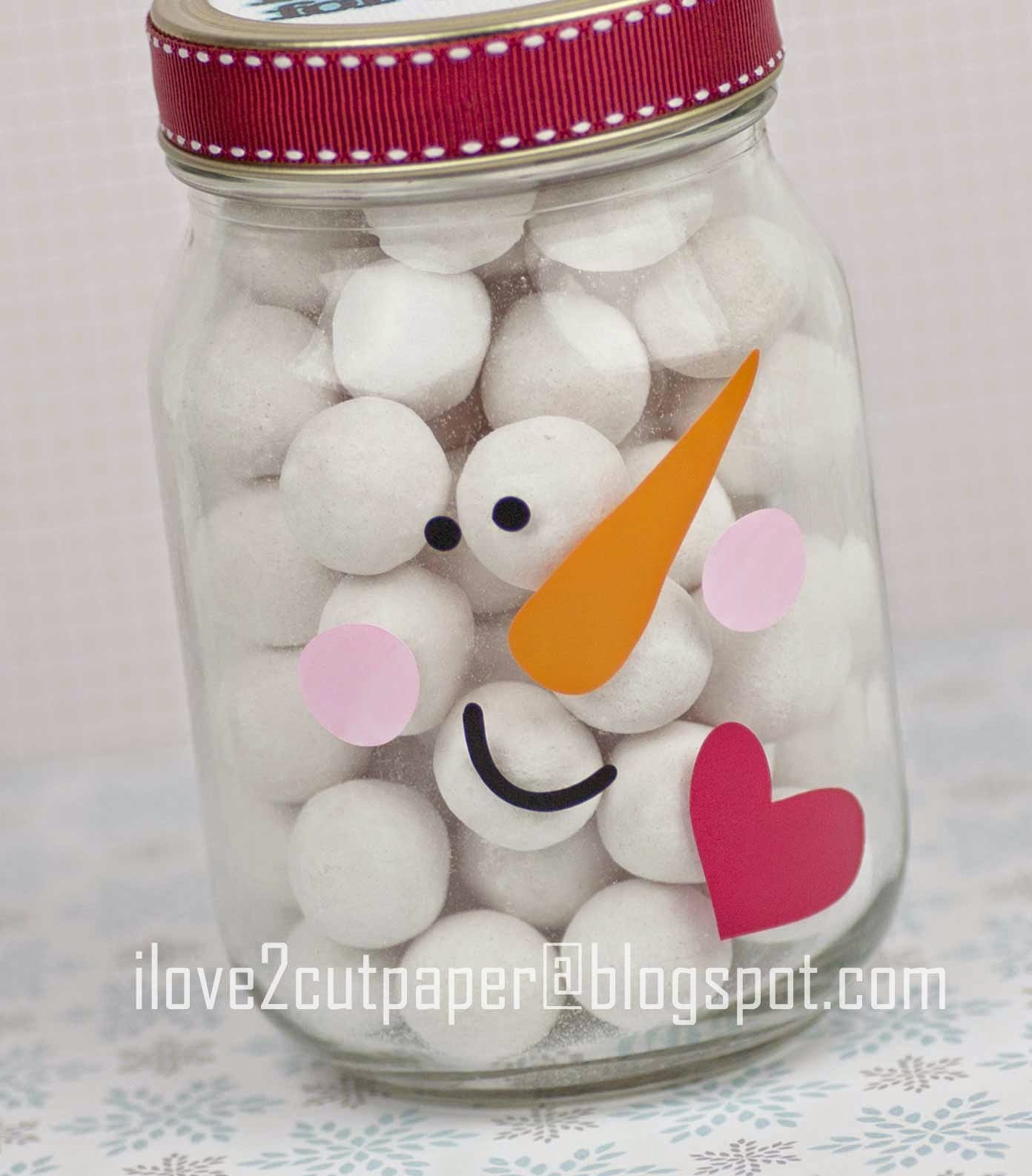 Snowman glass jar