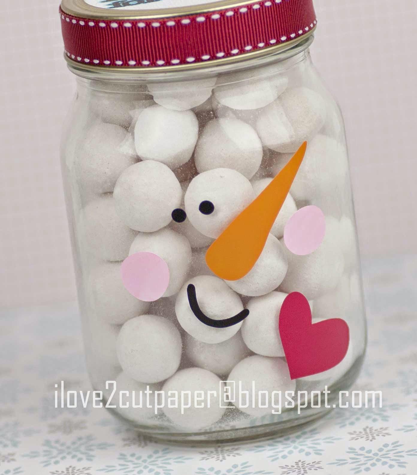 Snowman glass jar