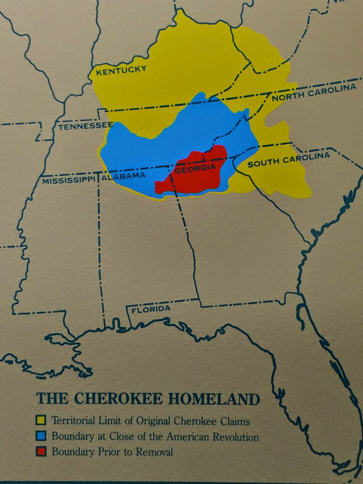 the map above shows the extent of cherokee lands at first contact with europeans in yellow by the time of the american revolution their lands had shrunk