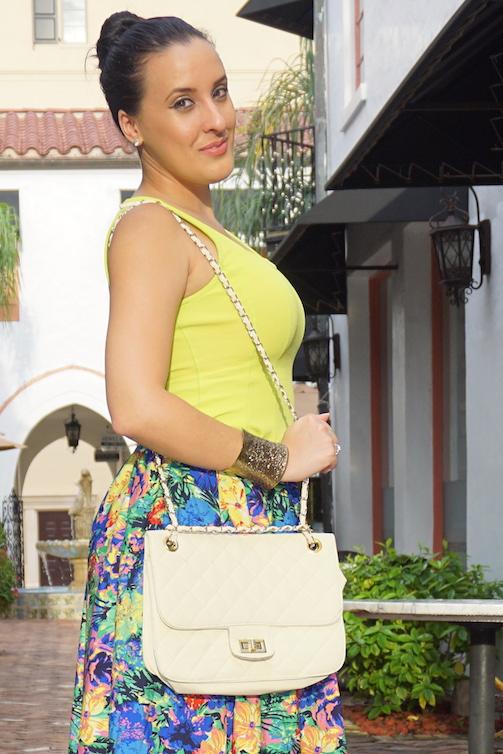 OOTD-Tropical-Paradise-Tropical-A-Line-Skirt-+-Neon-Blouse