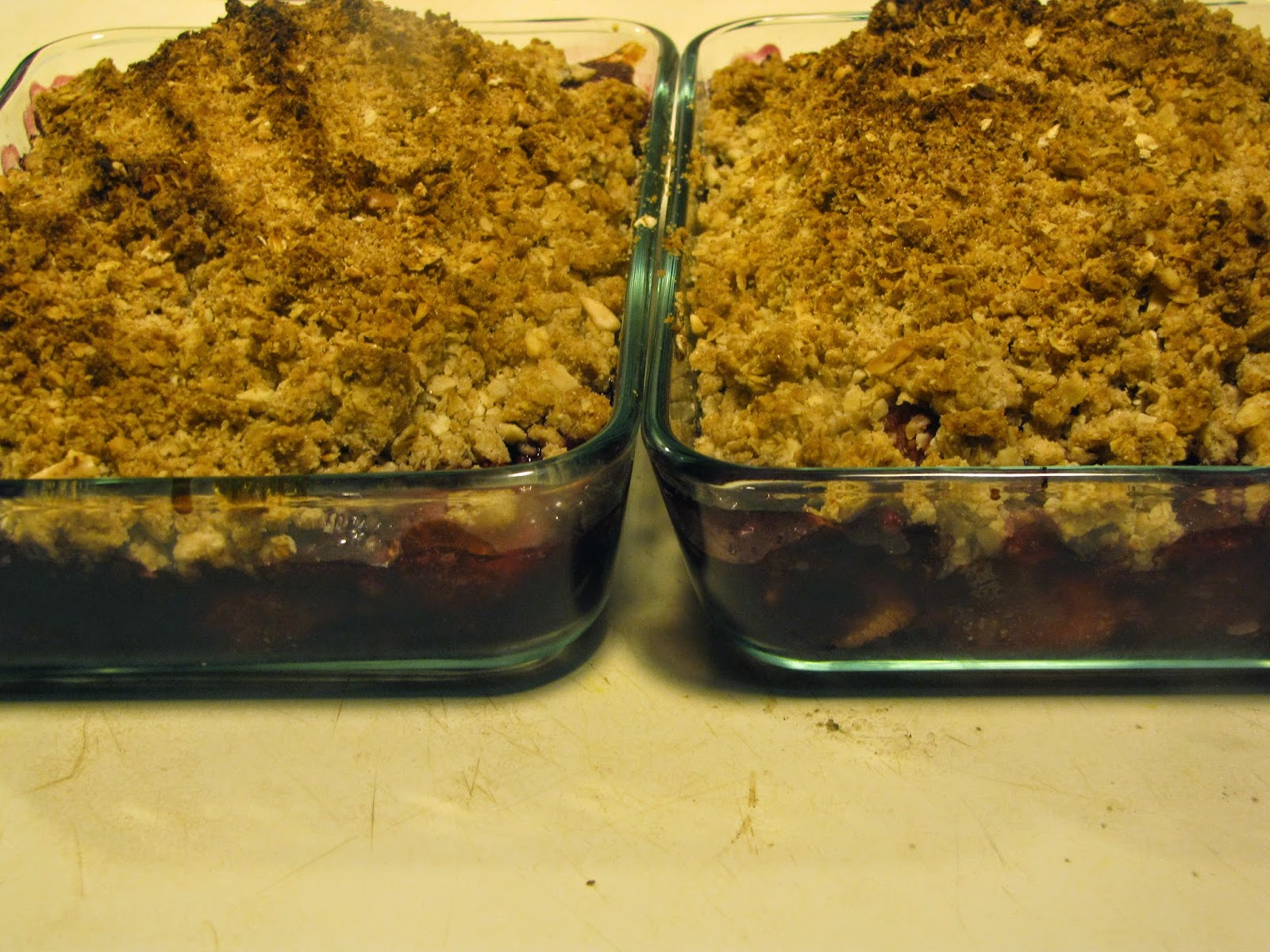 Freshly Baked Strawberry Blueberry Crumble with Oatmeal Almond Crust.