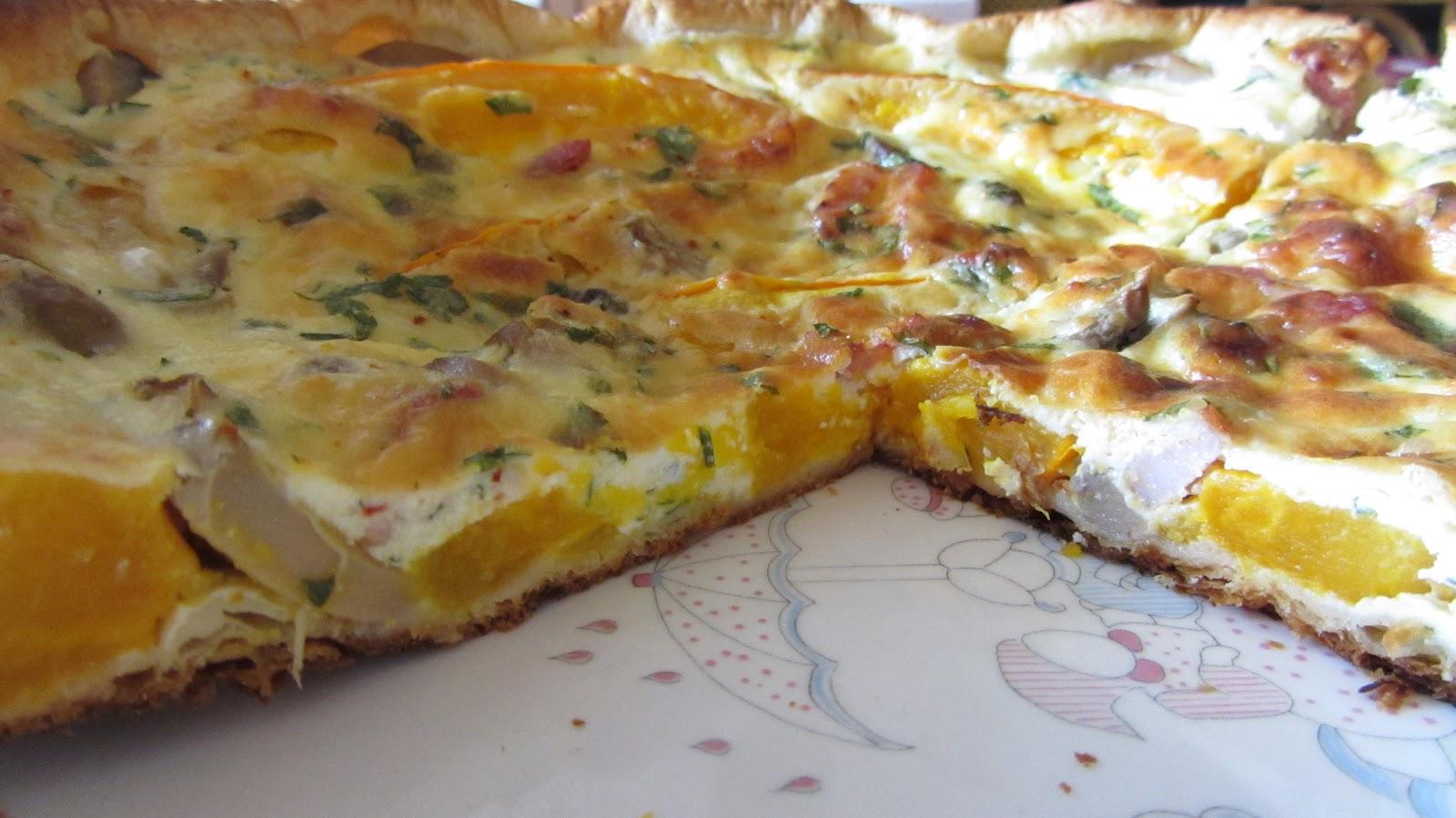 A table tarte au potimarron aux champignons et la brousse - Champignon de paris a la poele ...
