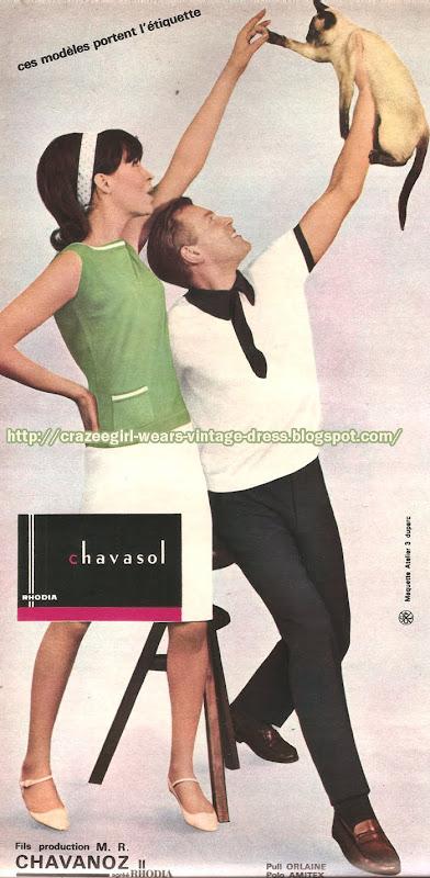 Chavasol - 1965 knit top skirt 1960 60s mod