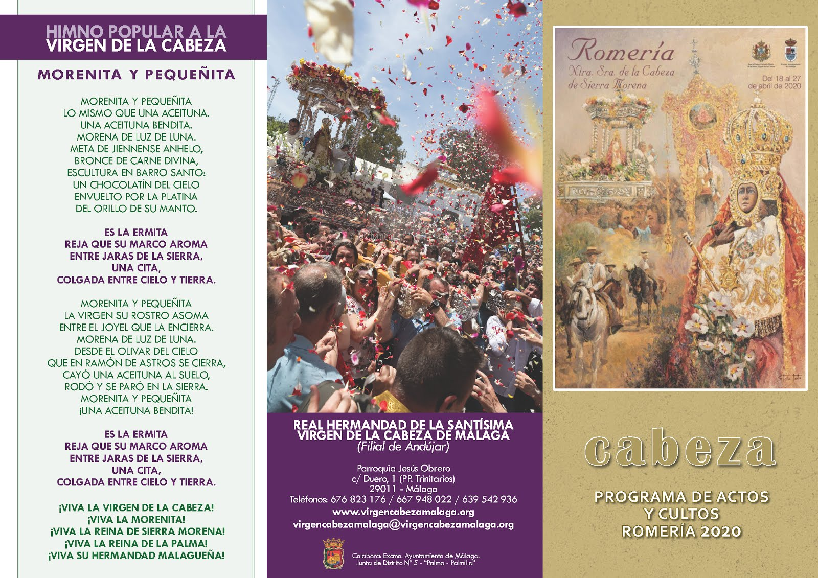 Programa de Actos y Cultos ROMERÍA 2020. Real Hdad. de Málaga (SUSPENDIDOS por Covid 19))