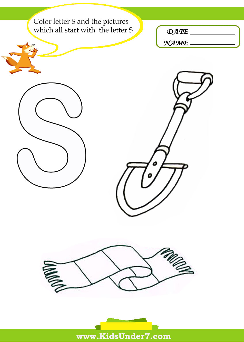 Kids Under 7: Letter S Worksheets and Coloring Pages