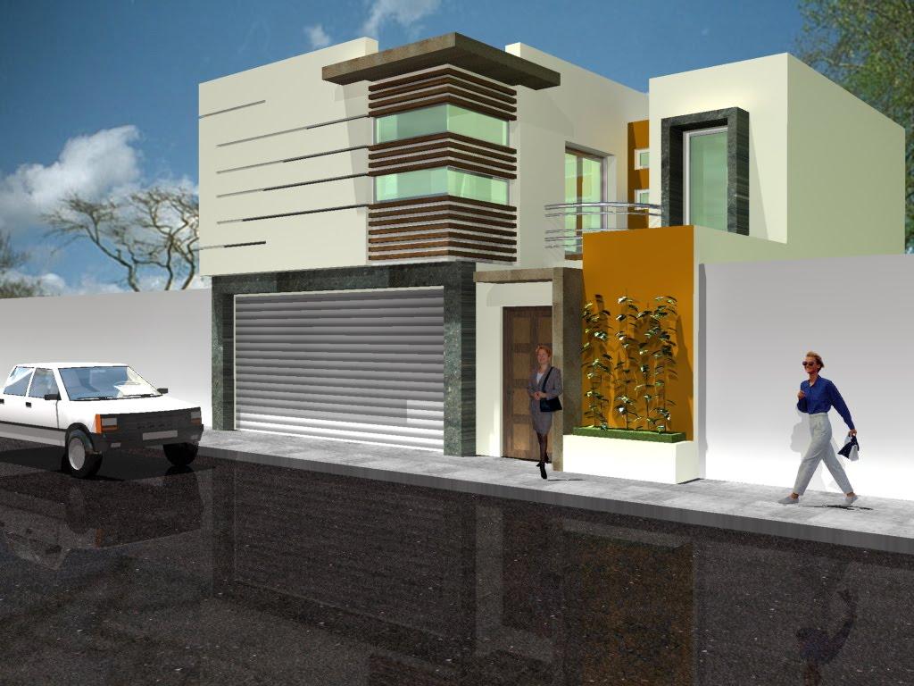 Fachada contempor nea con balc n interno en el costado - Fachadas casas contemporaneas ...