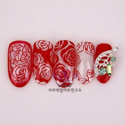 red rose nail art, pen art rose drawing