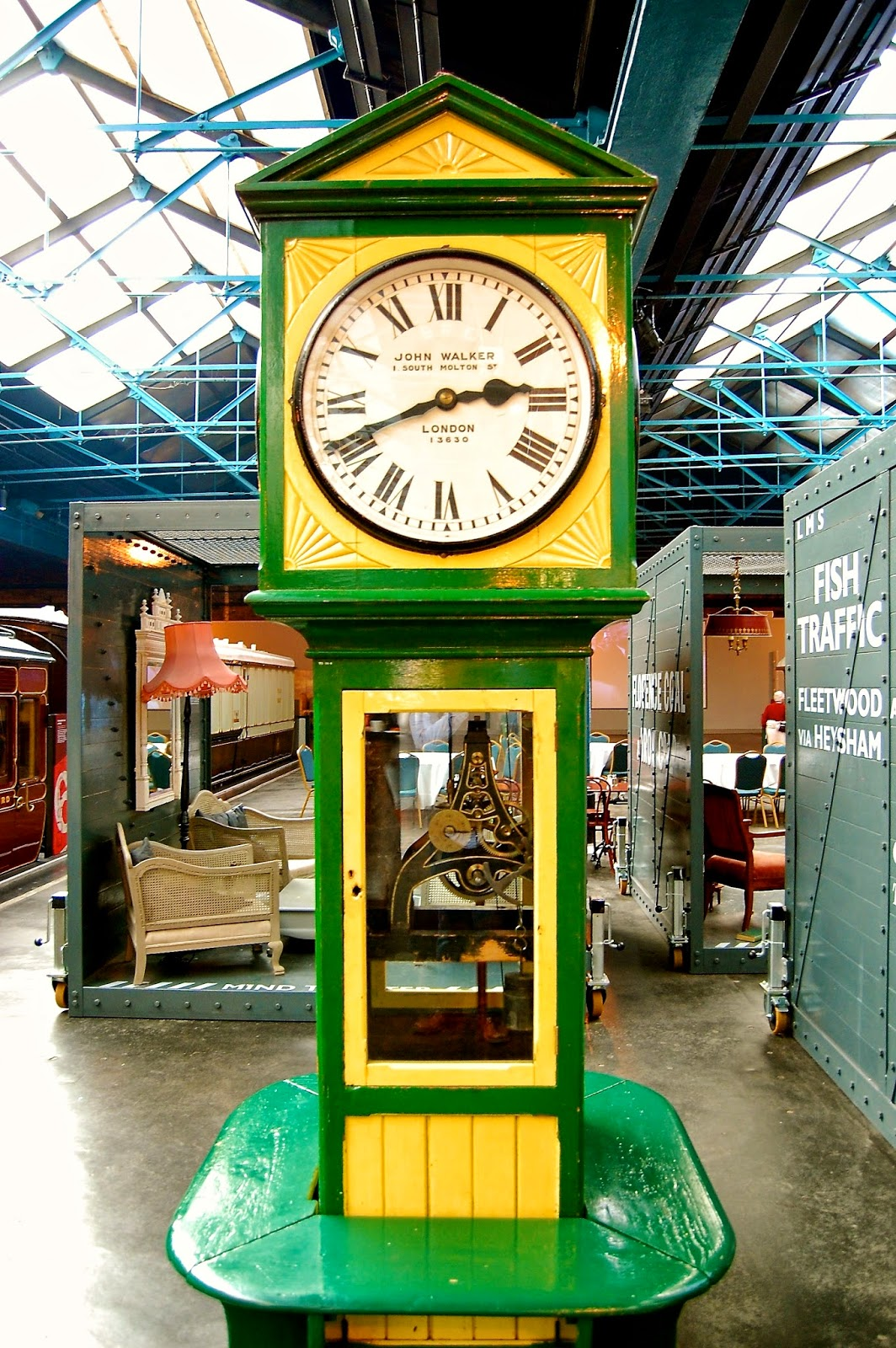 Railway station clock at the National Railway Museum in York