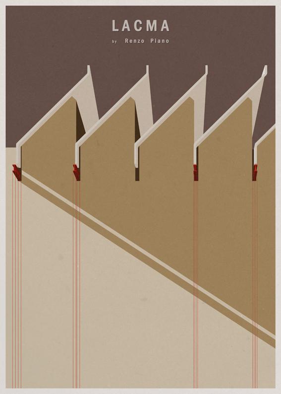 LACMA - Renzo Piano - Posters de Arquitectura Minimalistas de André Chiote