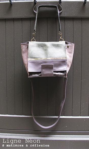 Soldes Sac Matières à réflexion cuir gris kaki métallisé Mini néon