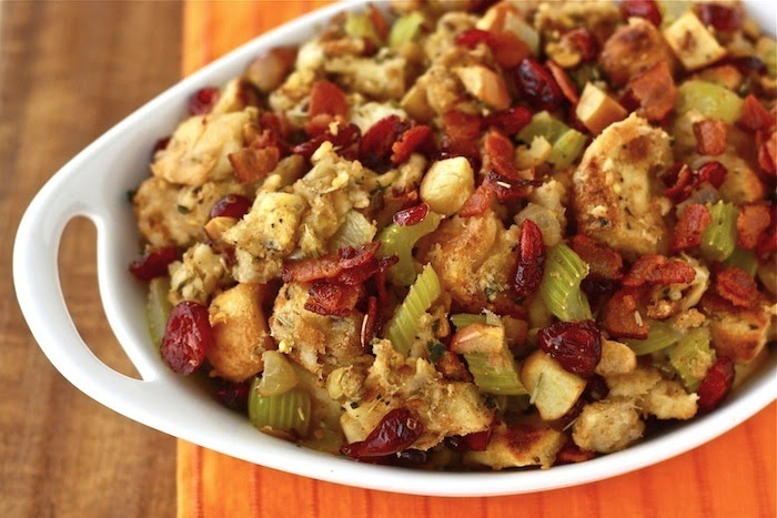 Homemade cranberry stuffing season with spice for Vegetarian christmas stuffing