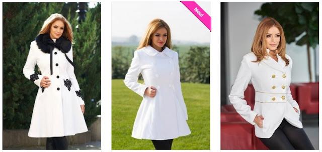 Paltoane dama elegante albe