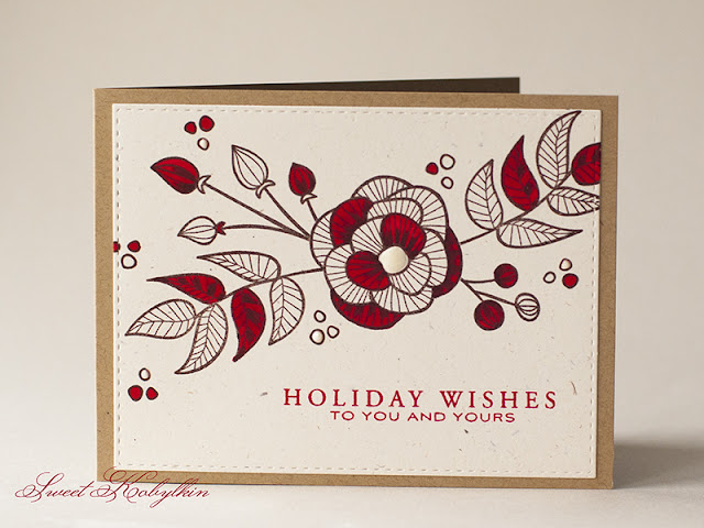 Holiday Card with Striped Florals from Altenew by Sweet Kobylkin