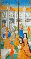 Enterrement: miniature du XVe siècle