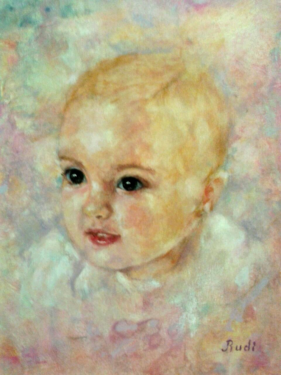 Retrato niña surrealista realizado por pintora Rudi.