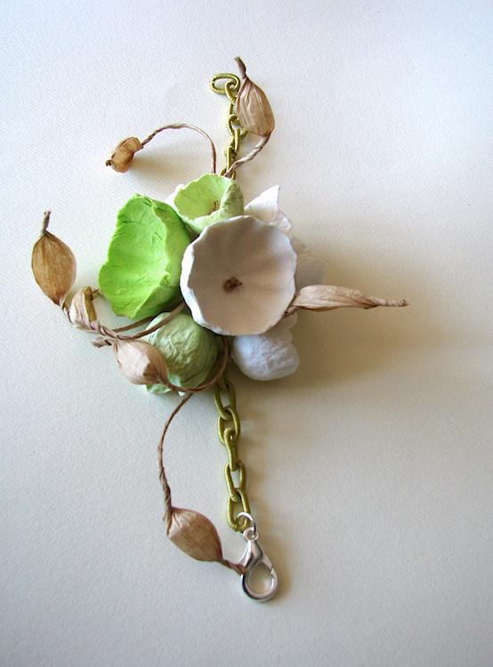 Eco gioielli : bracciale per matrimonio color bianco verde