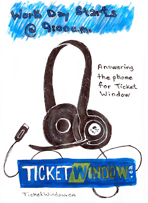 Logitech headset and TicketWindow.ca logo. My work day. By Ana Tirolese ©2012