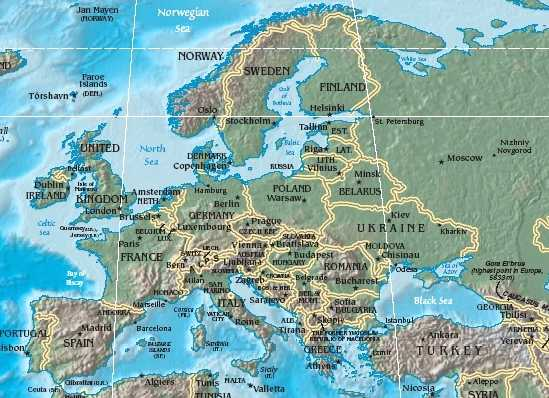 Maps of Europe Region Country