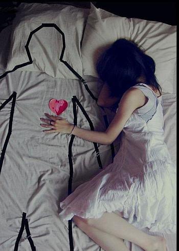 miłość, poszukiwania, kobieta, łóżko, tęsknota