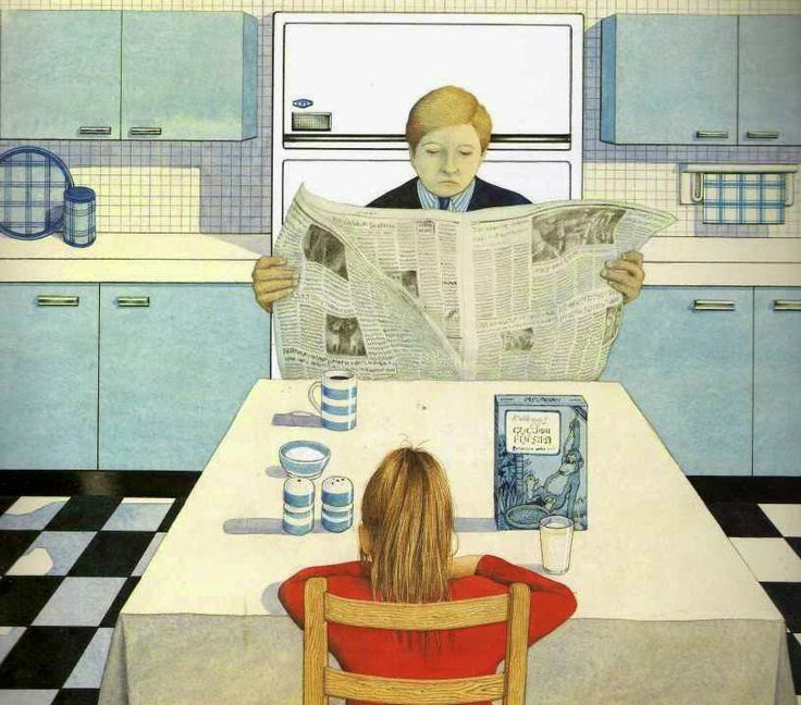 a boring silent breakfast illustration by Anthony Browne