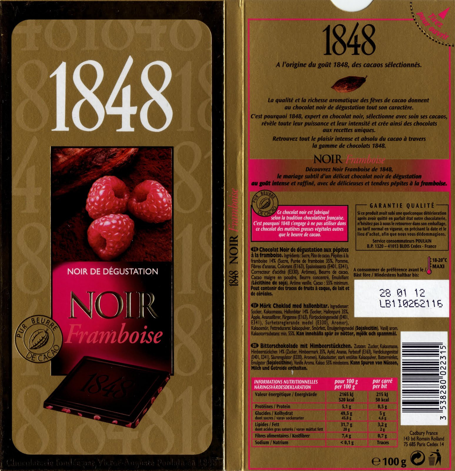 Poulain 1848 noir framboise tablette de choc for 1 tablette de chocolat
