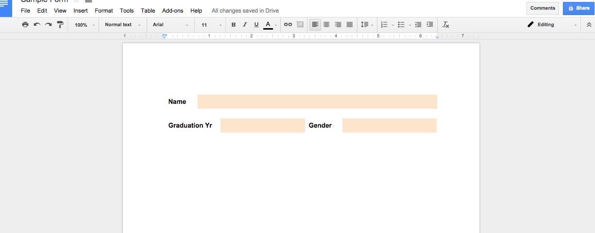 Creating Fill In Responses In Google Docs