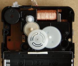 part of a gear train in a modern clock