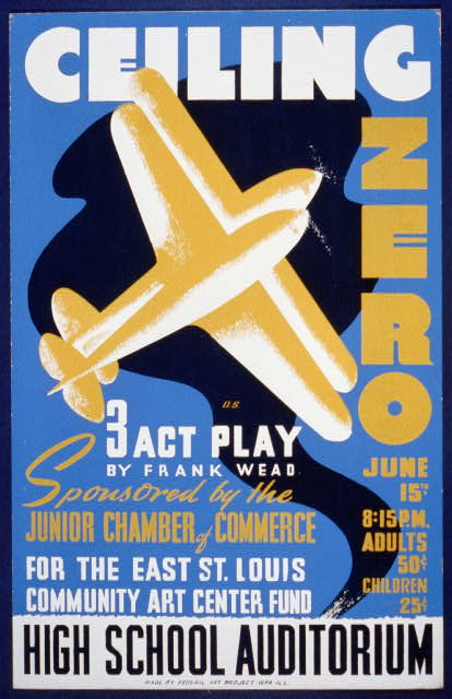 classic posters, free download, graphic design, movies, retro prints, theater, vintage, vintage posters, Ceiling Zero, 3 Act Play, by Frank Wead, Community Art Center Fund - Vintage Theater Poster
