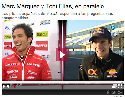 Los pilotos de Moto2 Toni Elías y Marc Márquez