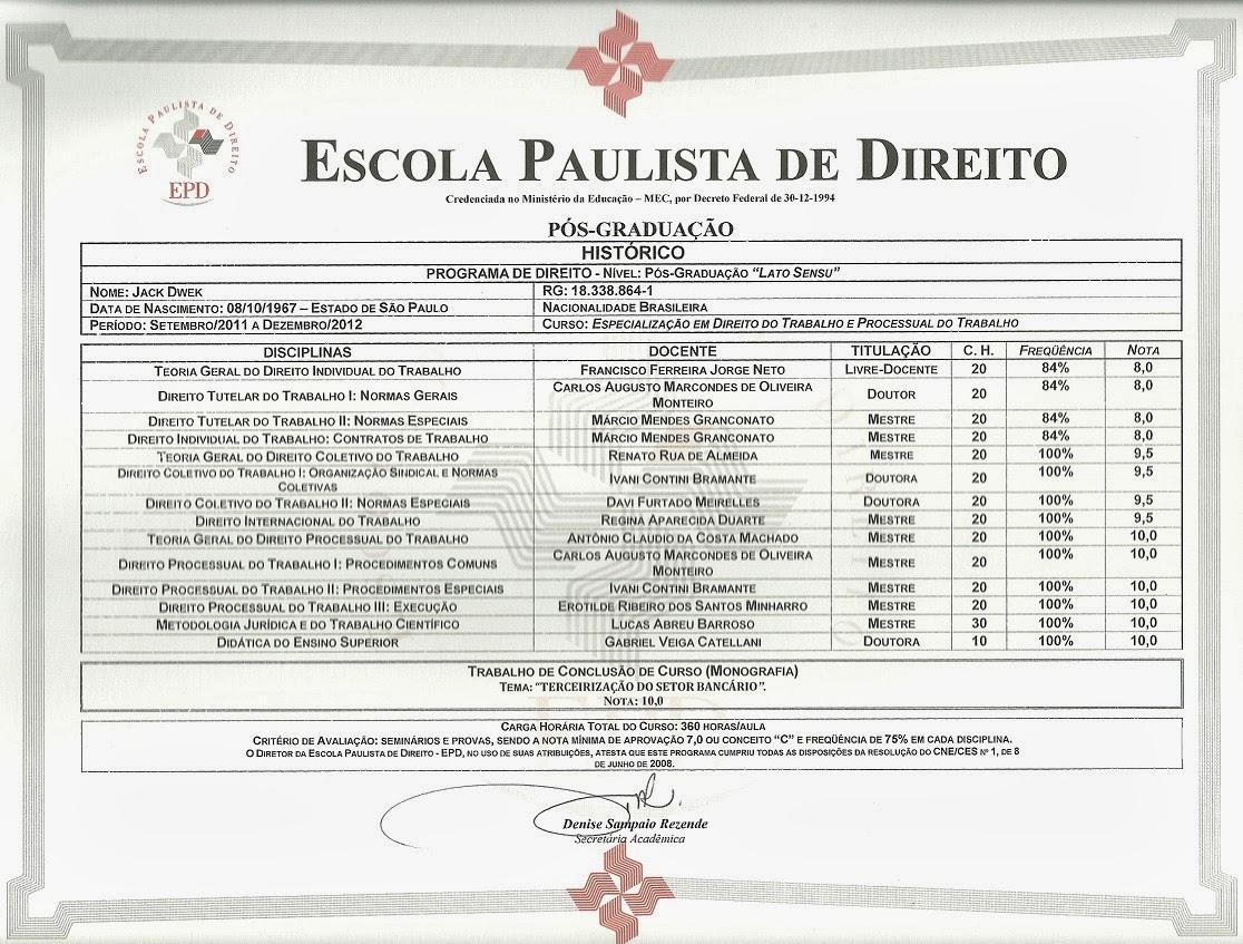 Histórico Escolar P.G. EPD