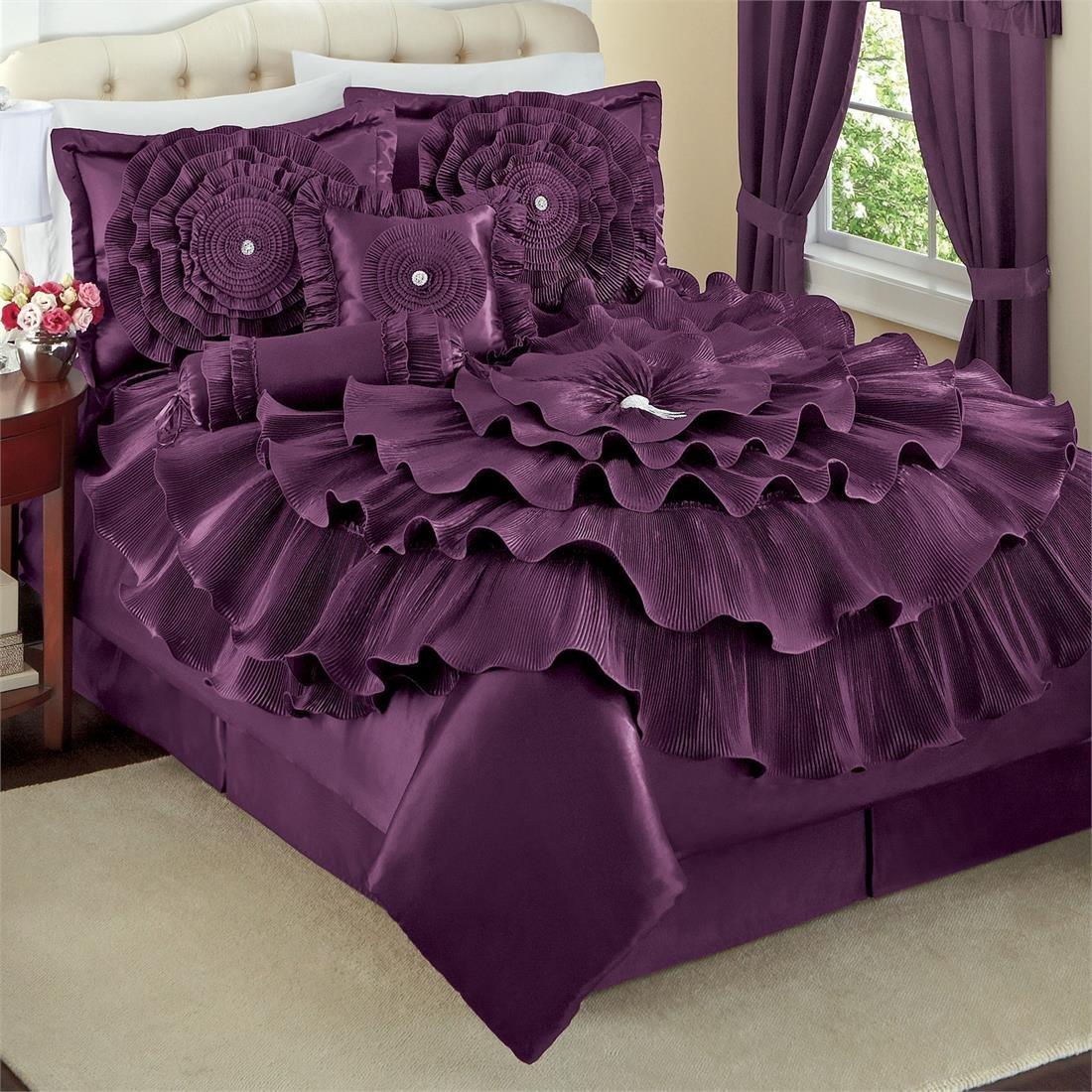 Total fab deep dark purple comforters bedding sets for Bedding violet