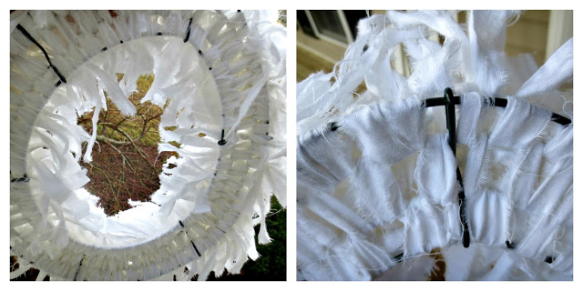 Muslin rag wreath, by Down to Earth Style, featured on I Love That Junk