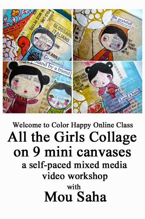 All the Girls Mixed Media Collages on 9 Mini Canvases, A Color Happy Online Workshop