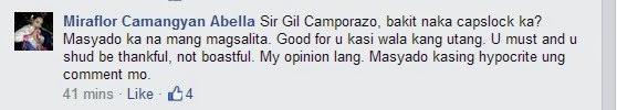 Miraflor Camangyan Abella's Mario Mendoza Bautista's posted message